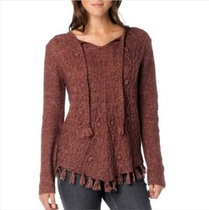 Prana Shelby poncho brown red sweater fringe m